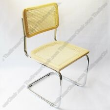 Marcel Breuer Cesca Cane Side Chair in Honey Oak w/ Chrome Finish Made in Italy