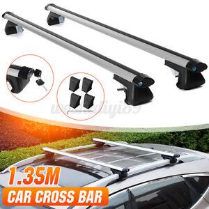 "135cm 53"" Universal Car Roof Rack Cross Bars Luggage Carrier Aluminum Lockable"