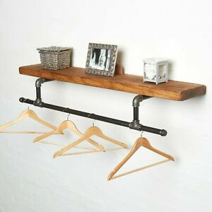 Industrial Clothes Rail With Solid Wood Shelf - Tee Style - Urban, Vintage