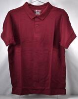 Izod Uniform Young Men's Short Sleeve Pique Polo, Burgundy