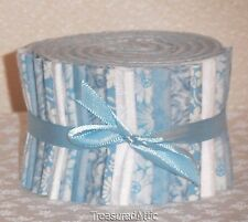 "Quilting Fabric Jelly Roll Strips 20~2.5"" Baby Light Blue White 100%Cotton Quilt"