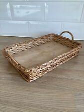 Vintage Woven Wicker Tray Basket With Handles & Hard Wood Bottom