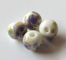 30pcs 10mm Round Porcelain/Ceramic Beads - White / Purple Flowers