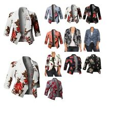 FashionOutfit Plus Size Stretch Floral Printed 3/4 Shirring Sleeve Open Blazers