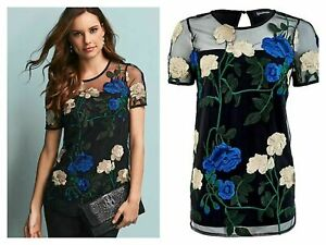 Kaleidoscope Size 10 Black Floral Embroidered Front TOP Evening Occasion £55