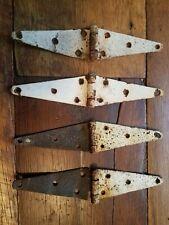 "4 Architectural Salvage Vtg Antique Cast Iron Door Gate Barn Hinges ORIGINAL 12"""