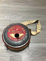 RARE Vintage 50s Pine Lake Resort & Campground USA Metal Strap Canteen Birdhouse