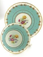 Vintage Teacup and Saucer H&M Sutherland Fine Bone China England Flowers T384