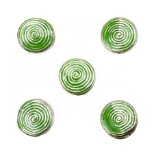 Enamelled Hypnotic Swirl Green Round Metal Bead 19mm Pack of 5 (E86/5)