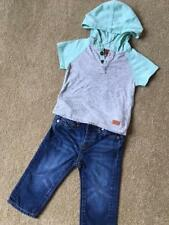 7 FOR ALL MANKIND Baby Boy 2 pc Set Jeans T-shirt Hoodie Size 12 M
