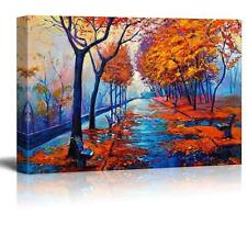 """Original Oil Painting Showing Autumn Park with Empty Benches - CVS - 32"""" x 48"""""""