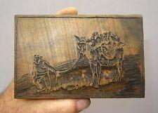 bois gravé original de livre - l' âne aux singes