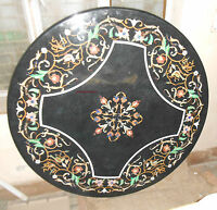 3'x3' MARBLE DINING END COFFEE CORNER CENTER MALACHITE TABLE TOP MOSAIC INLAY