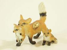 Mother FOX Carry BABY Bone China Figurine LITTLE 2 Babies Figurine Japan Vintage