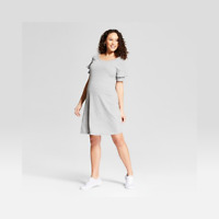 Summer Maternity Dress | Isabel Maternity T Shirt Knit Dress Gray Small