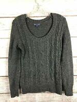GAP Gray Knit Sweater Long Sleeve Scoop Neck Cotton/Nylon/Wool EUC Women's Size