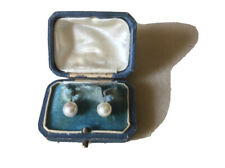 Vintage Akoya pearl clip on earrings 14ct white gold