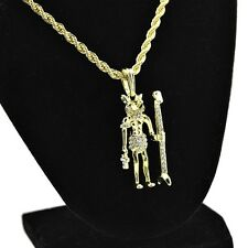 "Egyptian Anubis 24"" Chain Gold Tone Iced-Out Bling Pendant Hip Hop Rope Necklace"