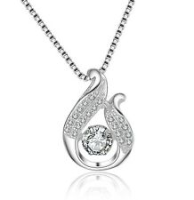 Sterling Silver Cubic Zirconia Waterdrop Halo Pendant Necklace w Chain Gift Box