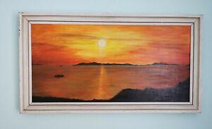 Mid Century Vtg Retro Original Oil Painting Vintage Kitch 70's - Sunrise Sea MCM