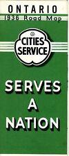 1936 Cities Service Road Map: Ontario Canada NOS