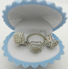 14k Solid White Gold Diamond Earring , Ring  Set cluster style 1.50 ct