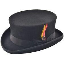 Deadman Short Topper Wedding Ascot Event 100% Wool Felt Top Hat with Feather