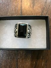 Silpada Black Chalcedony Filigree Scroll Sterling Silver Wide Band Ring