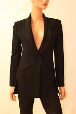 Haute Hippie Black Satin Trimmed Long Tux Jacket Blazer  Size 0  XS