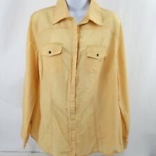 CHICOS Size 2 Button Front Blouse Yellow Cotton Silk Blend Adjustable Sleeve
