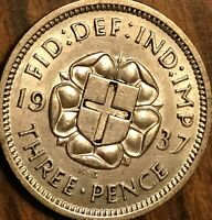 1937 UK GREAT BRITAIN SILVER THREEPENCE CIRCULATED