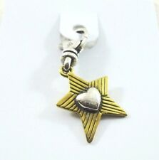 """Silpada """"Star at Heart"""" .925 Sterling Silver, Brass, Charm Retired c2580 New"""