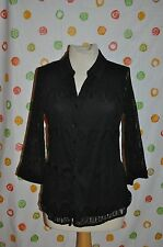 CHICOS size O black net button front 3/4 sleeve blouse top EUC