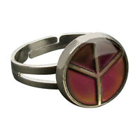 Adjustable Peace Symbol Color Temperature Change Mood Ring Figer Ring US 8 7/8