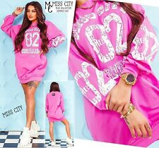 NEU 36 38 40 S M L Sommer MC Miss City Sweatshirt & Shirt Kleid mit Prints Pink