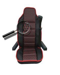 LKW Sitzschoner Schwarz mit Rot Sitzauflage Kunstleder Neu OVP Komfort LKW-Sitz