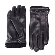 Men's Real Leather LAMBSKIN Black Winter Warm Touch Screen Driving Short Gloves