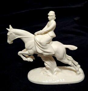 Antique porcelain figurine Woman Jockey Riding Horse side saddle white Germany