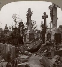 French Graves Destroyed by Hun Shell Fire. Sniper Found in a Coffin! Stereoview