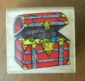 """Hero Arts A346 Small Pirate's Treasure Chest 1"""" x 1"""" Mounted Rubber Stamp"""