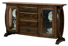Amish Transitional Modern Sideboard Buffet 2-Door 4-Drawer Solid Wood Saratoga