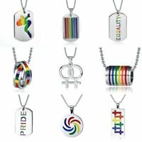 Stainless Steel Lesbian Gay LGBT Pride Rainbow Pendant Necklace Unisex Jewellery
