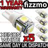 5x 5 SMD LED XENON WHITE SIDE LIGHT BULB 501 W5W T10 PUSH WEDGE 360 DEG UK
