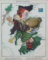 Scottish Map Scotland Scots Antique Old Colour Reproduction Map from Fun Atlas