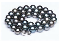 "18""11-12MM TAHITIAN NATURAL BLACK GREEN PEARL NECKLACE 925s"