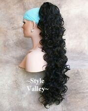 Long JET BLACK Ponytail Hairpiece Claw/jaw Clip on in Curly Extension Hair Piece
