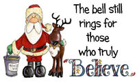 BELIEVE IN THE MAGIC BELL LABELS x 42 -  Santa and Reindeer   -  🎅Christmas