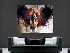 GIRL WOMEN ANGEL FIRE BEAUTIFUL  IMAGE  LARGE WALL POSTER PICTURE