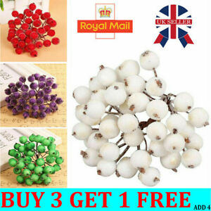 40 Head Artificial Frosted Holly Berry Flowers Fruit Home Wedding Party Decor L8