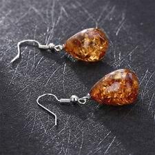 Retro Natural Polished Baltic Sterling Amber Color Earrings Women Charm Jewelry